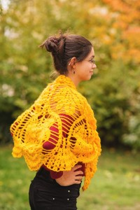 Yellow crochet shawl