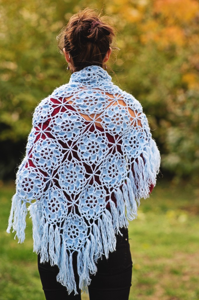 big flower crochet shawl