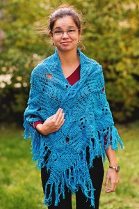 Blue crochet shawl