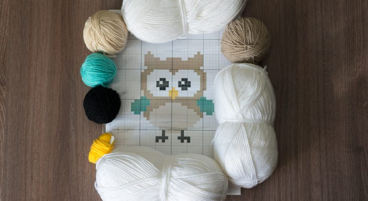 owl baby blanket yarn kit